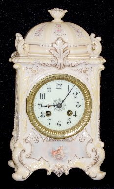 101: Antique French China Clock With Cherubs
