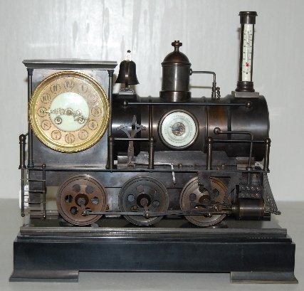101A: Large Iron 3 Function Locomotive Clock