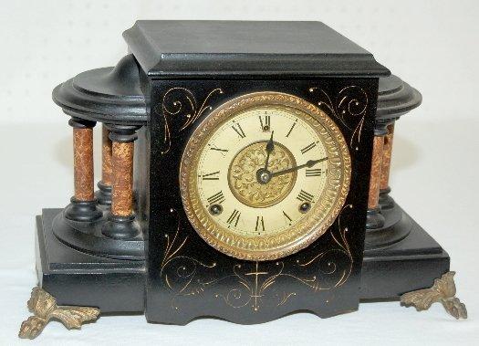 106: Gilbert 6 Column Black Mantel Clock