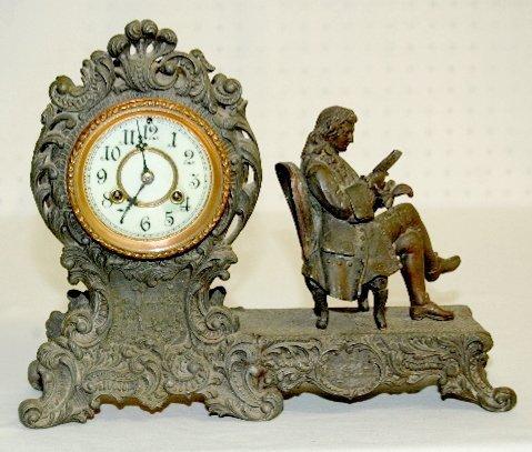 """108: Antique Waterbury """"Voltaire"""" Statue Clock"""