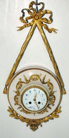 112: French Alabaster & Gilt Brass Wall Clock