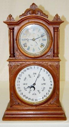 112A: B.B.Lewis Carved Calendar Shelf Clock