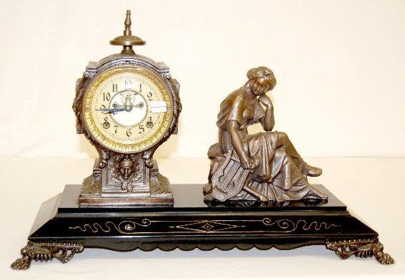 113: New Haven Antique Lady Statue Clock