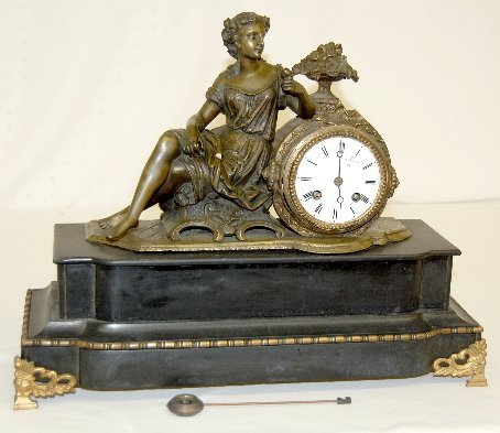 127: French Slate Lady Statue Clock