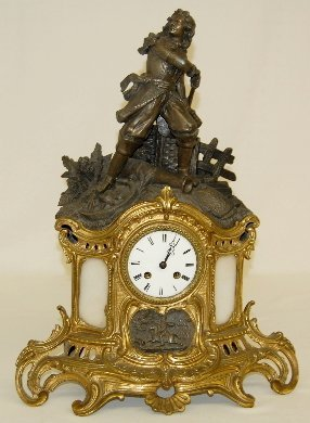 194: French Statue Clock With Soldier & Cannon