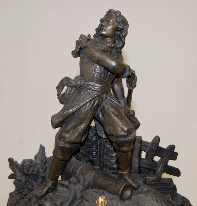 194: French Statue Clock With Soldier & Cannon - 2