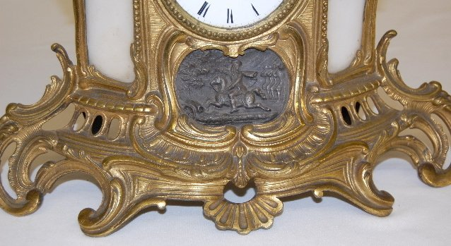 194: French Statue Clock With Soldier & Cannon - 3