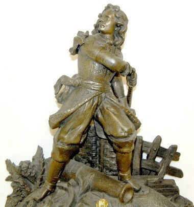 194: French Statue Clock With Soldier & Cannon - 8