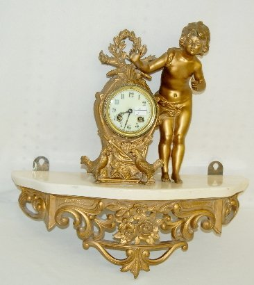 103W: French Statue Clock, Child & Chickens