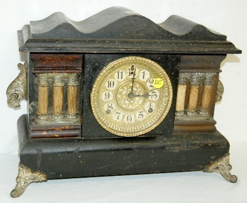 107: Gilbert 6 Post Black Mantel Clock