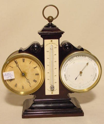 13: Desk Clock with Thermometer Aneroid Barometer NR