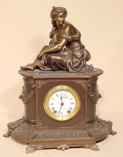 15: Seth Thomas & Sons Metal #8153 Statue Clock NR