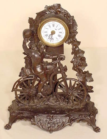 21: French Figural Bicycler Clock with Alarm NR