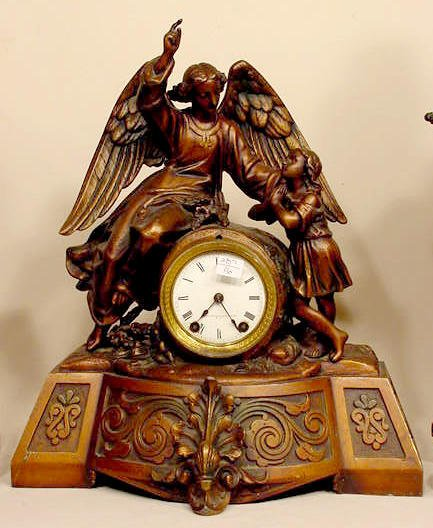 93: Seth Thomas & Sons Metal Angel & Child Clock NR