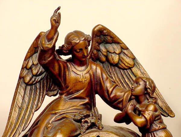 93: Seth Thomas & Sons Metal Angel & Child Clock NR - 2