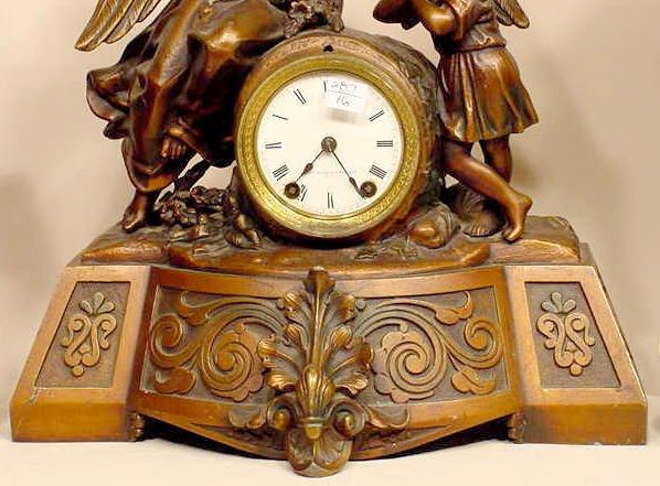 93: Seth Thomas & Sons Metal Angel & Child Clock NR - 3