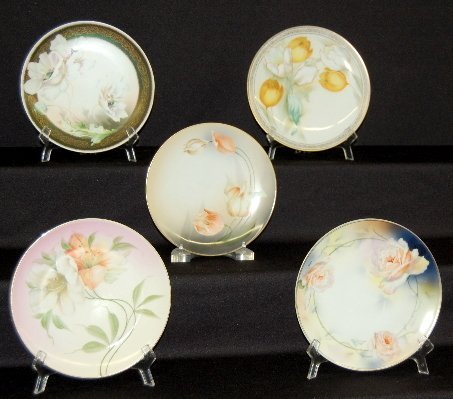 3: 5 Decorative Floral China Plates, RS, German