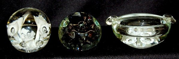 5: 3 Glass Paperweights, Floral Form