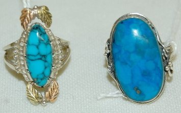 6J: 2 Ornate Sterling and Turquoise Rings, Modern