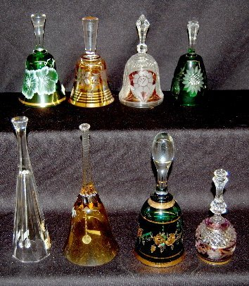 7: 8 Cut Back, Crystal & Enamel Decorated Bells