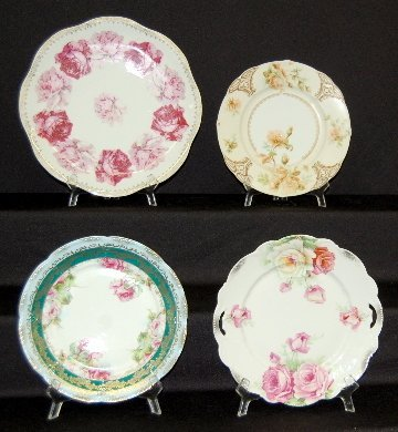 9: 4 Hand Painted Antique Plates