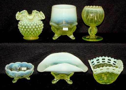 12: 6 Vaseline Opalescent Glass Vase, Bowls, Plus
