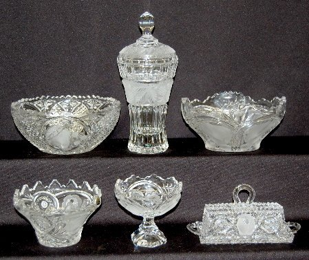14: 6 Pieces Fruit or Rose Decorated Lead Crystal Glass
