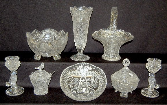 15: 8 Pieces Lead Crystal Glass W/Birds