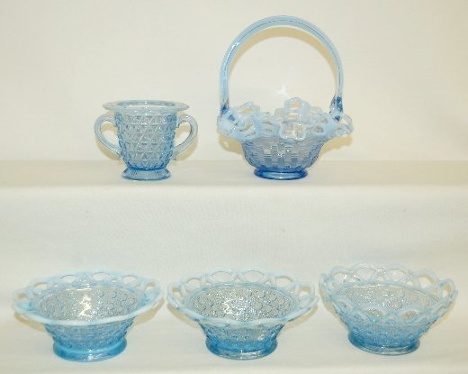 16: 5 Pieces Blue Opalescent Basket Weave Glass