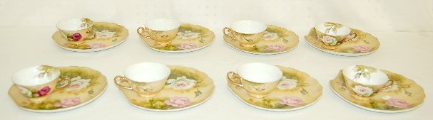 17: 8 Rose Decorated China Dessert Sets, 3 Lefton