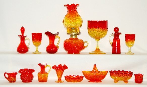 18: 15 Pcs American Amberina Colored Glass, Lamp +