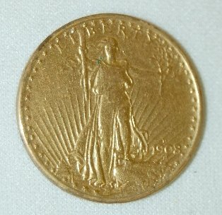 80J: U.S. 1908D Gold Double Eagle Coin