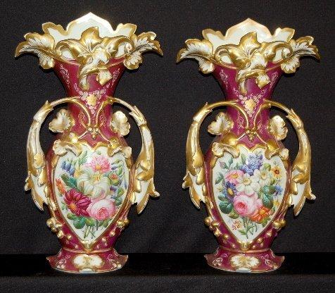 """182: Pair Old Paris Vases, Trumpet Vine Mold, 19"""""""