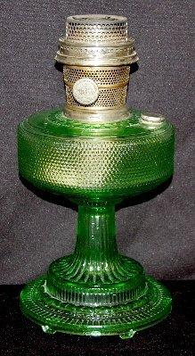 "12: Aladdin B-105 Green Beta Crystal ""Colonial"" Lamp"