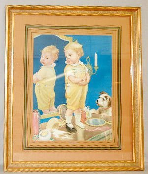 16: Framed Print of Young Child & Dog