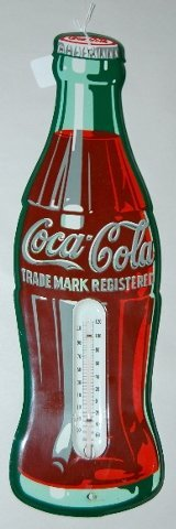 "22: 1950's Tin Die Cut ""Coca Cola"" Bottle Thermometer"