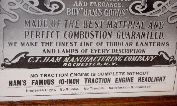 "107: Ham's 10"" Traction Engine Headlight & Ad - 4"