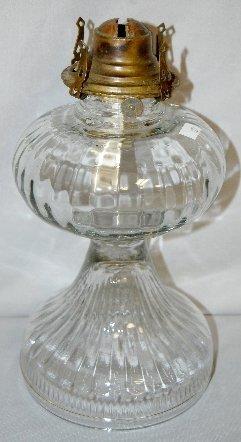 336: 5 Antique Kerosene Lamps, Clear, Various Patterns - 3