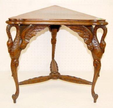 243F: Carved Swan Triple Leg Triangular Side Table