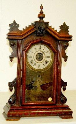9: Ingraham Walnut Shelf Clock, 8 Day T & S