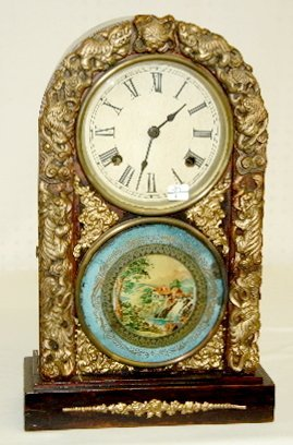 20: Chinese Decorated Round Top Clock, T & S