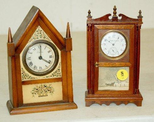 8: 2 Miniature Novelty Clocks, Steeple