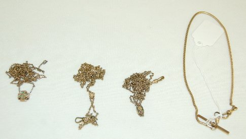 13: Old Watch Chains With Fob, Seal & Jeweled Slide