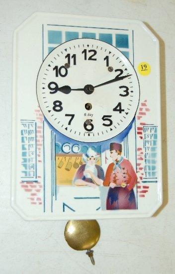 19: German Porcelain Dutch Scene Wall Clock