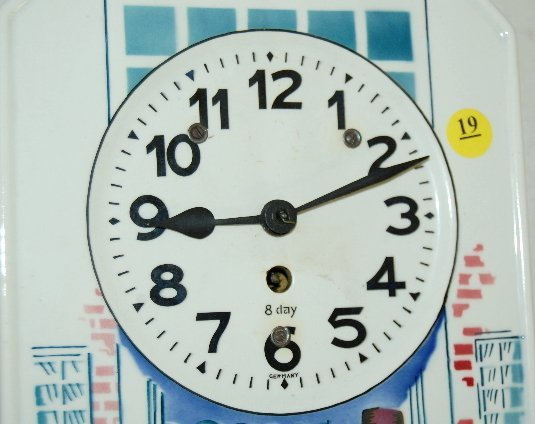 19: German Porcelain Dutch Scene Wall Clock - 2