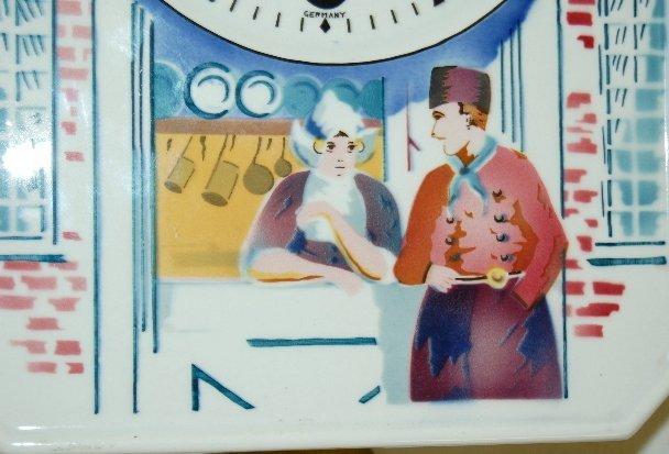 19: German Porcelain Dutch Scene Wall Clock - 3