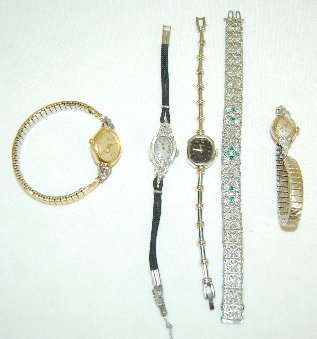 22: Group of 4 Ladies Wrist Watches & Bracelet