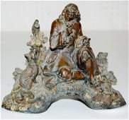 141: Clock Statue w/ Copper Finish, White Metal