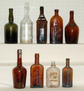 2: 9 Antique Bottles, Medicine, Whiskey & Rye, 1860s
