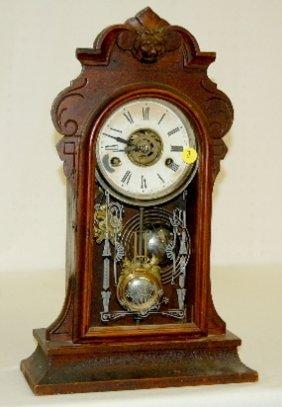 Antique Gilbert Lion Head Kitchen Clock W/ Alarm